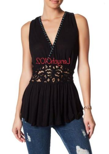 Embroidered Tank in Black Size S $78