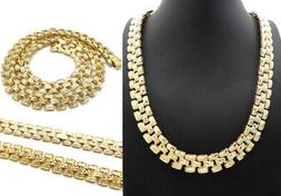 """New Hip Hop Fashion Gold Color Chain 13mm/24"""" Tank Chain Nec"""